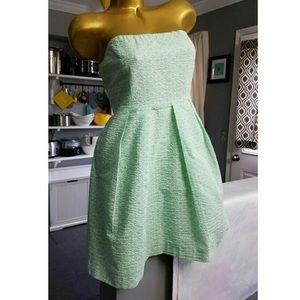 J. Crew mint green seersucker strapless dress